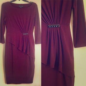 Jones New York Mulberry Sheath Dress Ruffle Brooch